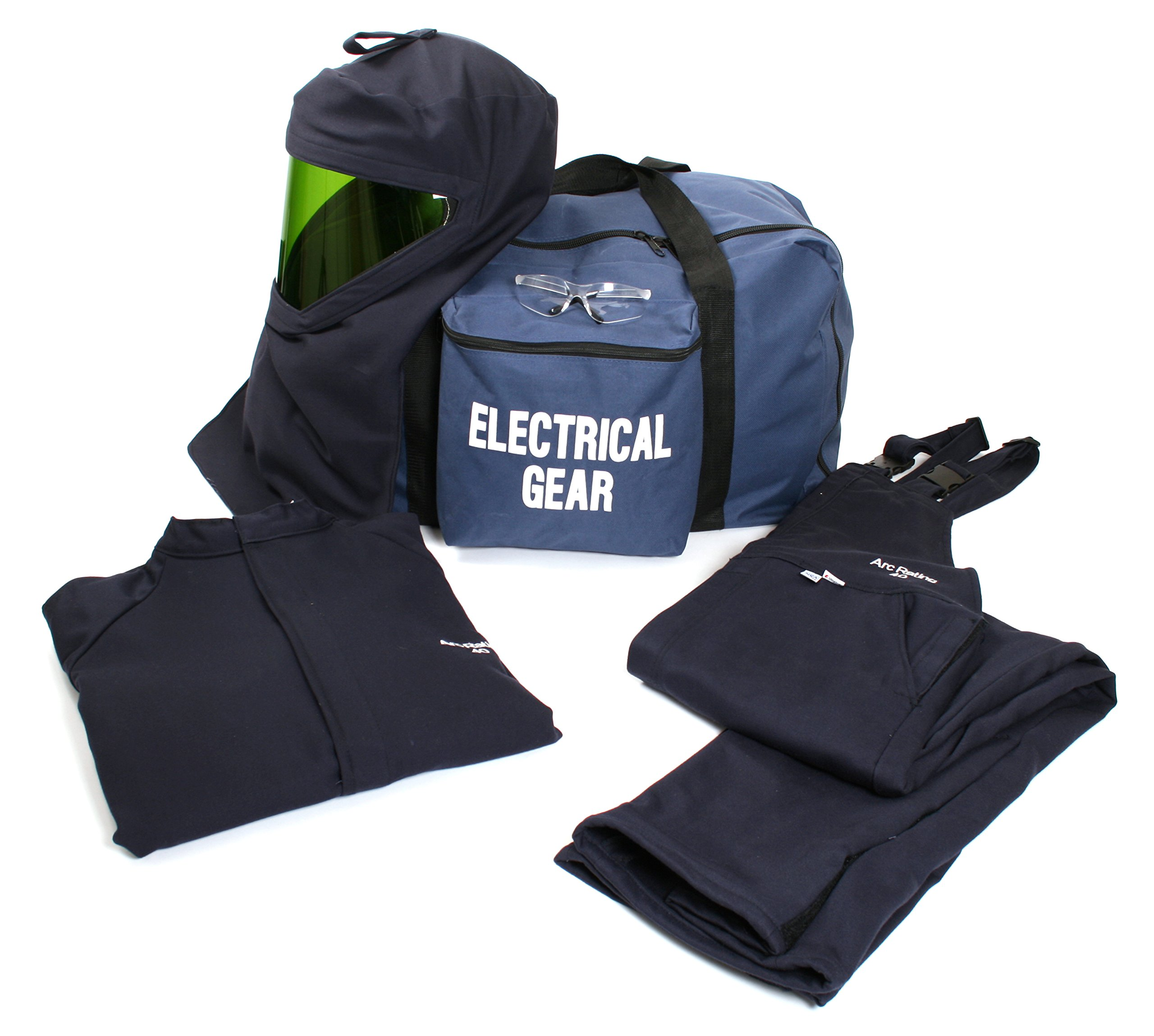 National Safety Apparel KIT4SC40NGMD ArcGuard HRC 4 Arc Flash Kit with 40 cal/sq cm Ultra Soft Short Coat and Bib Overall, Medium, Navy