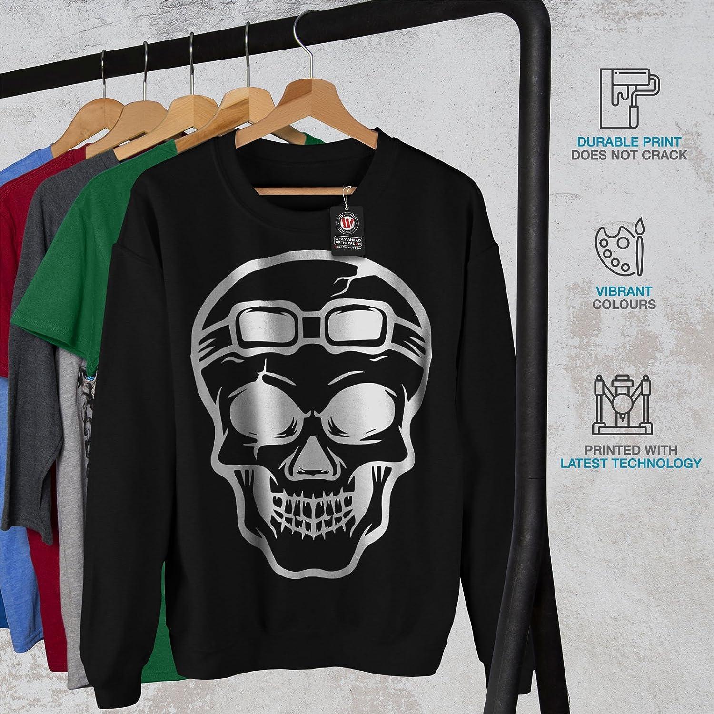 Skeleton Head Casual Jumper wellcoda Rider Skull Mens Sweatshirt