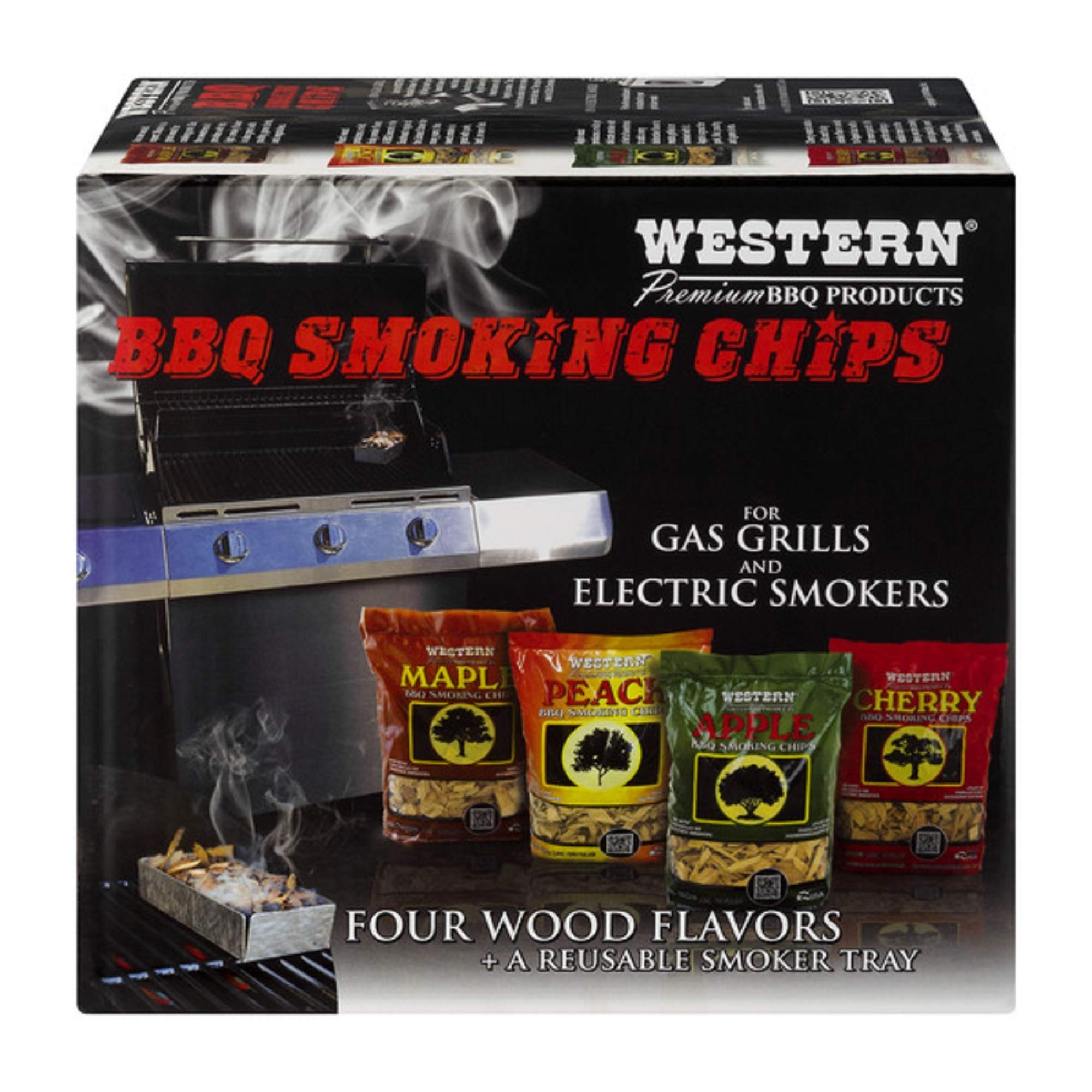 Western Premium BBQ Products BBQ Smoking Chips, Variety Pack (4 pack) product image