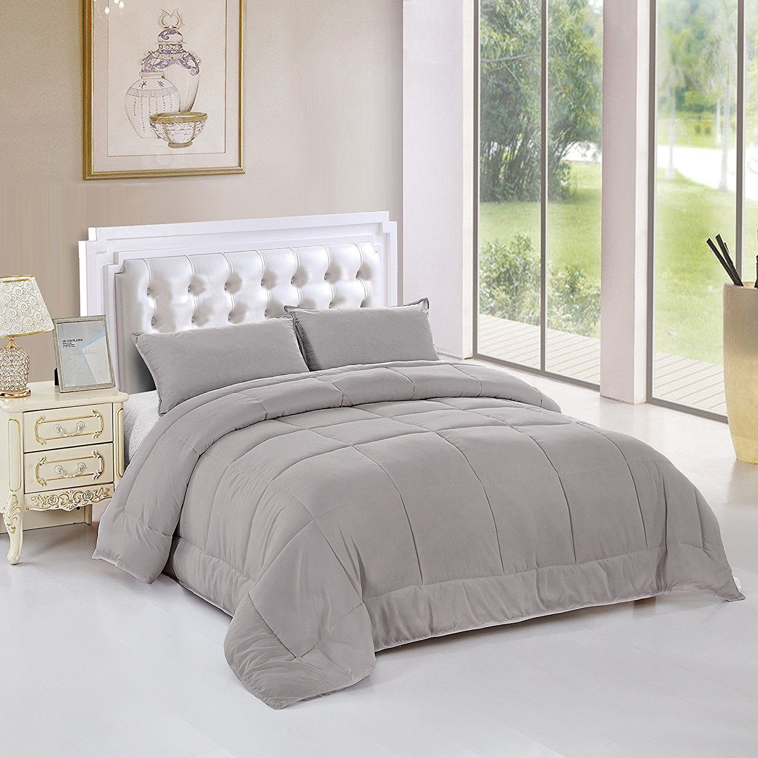 Unique Home All Season Goose Down Alternative Quilted Comforter Sets-Hypoallergenic-Plush Fiberfill Duvet Insert All Sizes (Grey, Twin)