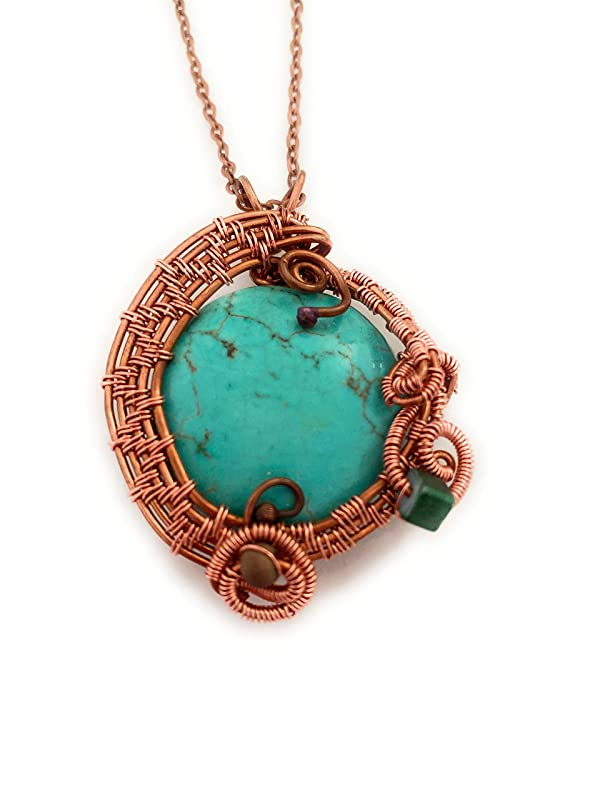 Gift for Her birthday gift handmade natural stone jewelry OOAK dyed howlite wire wrapped jewelry Turquoise pendant copper necklace
