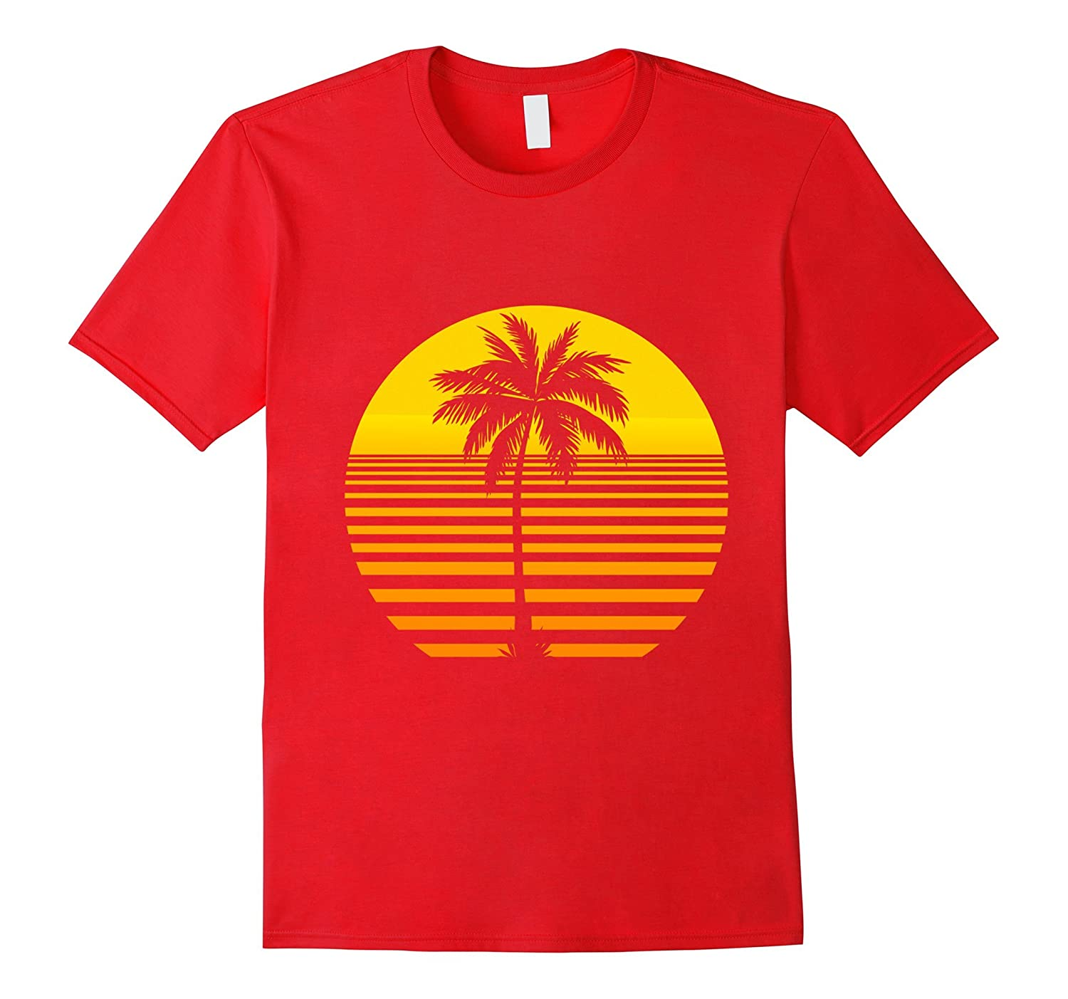 5 Different Colors Available Retro Sun and Palm Tree T-Shirt-ah my shirt one gift