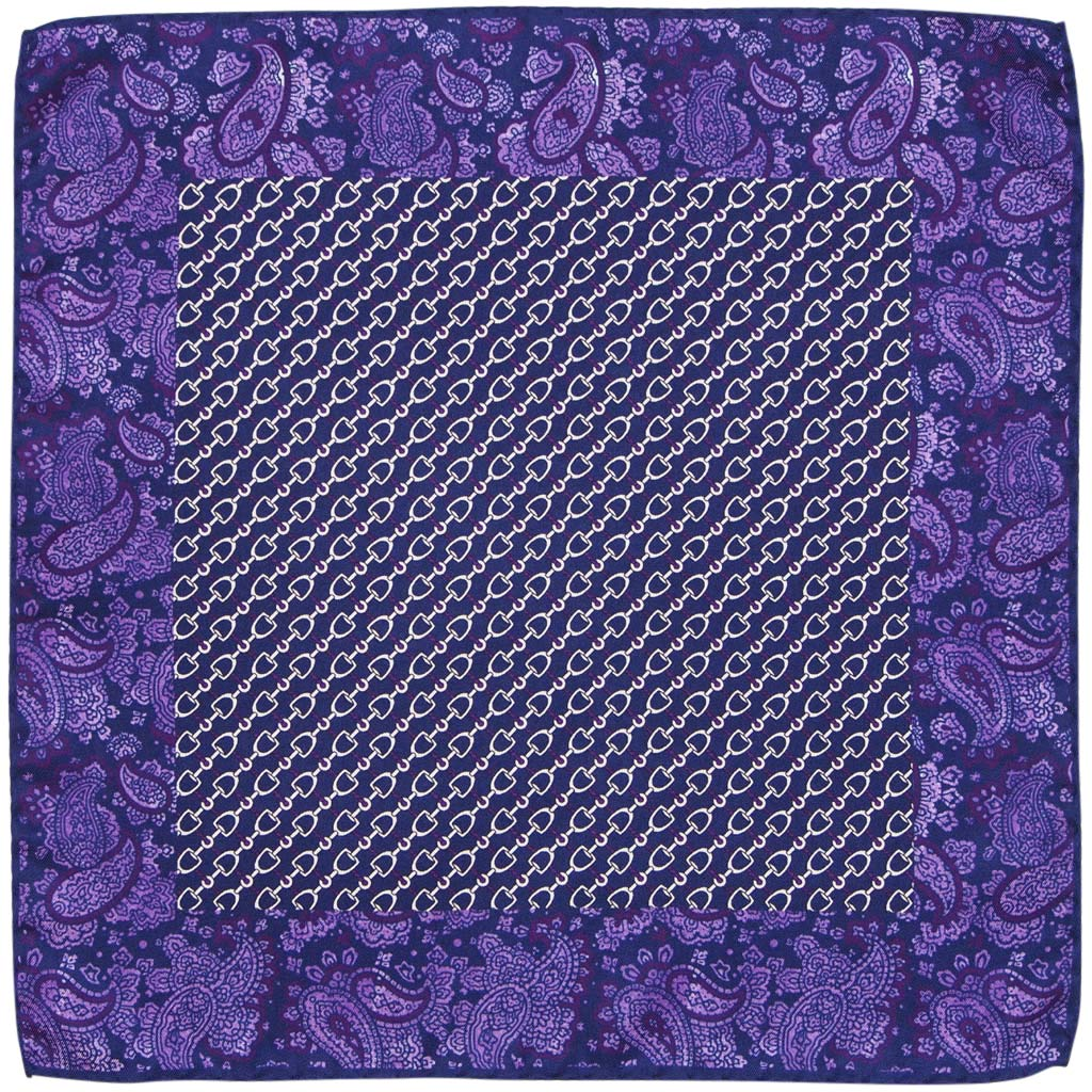 Mens Silk Pocket Square Made In Italy Hand Rolled Hem Purple