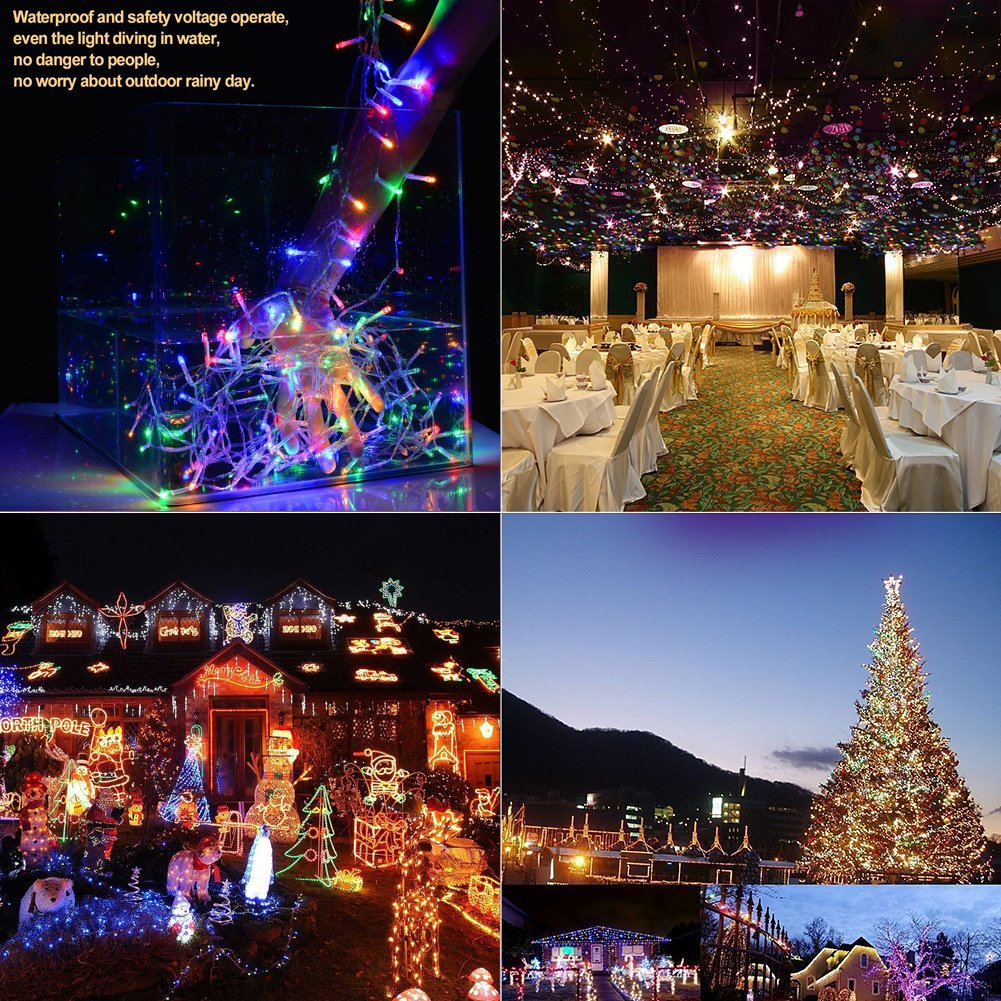 Christmas String Lights 22M/72ft 200 LEDs Indoor String Lights with 8 Flash Changing Modes, 29V Safety Outdoor Waterproof Plug-in Fairy Twinkle Lights for Halloween/Garden/Party/Festive (Multi Color) by Vilaka (Image #3)