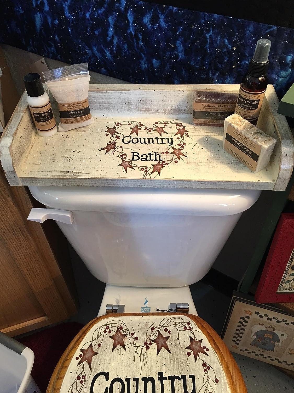 Fantastic Farmhouse Country Bath Hand Painted Wood Toilet Tank Tray Uwap Interior Chair Design Uwaporg