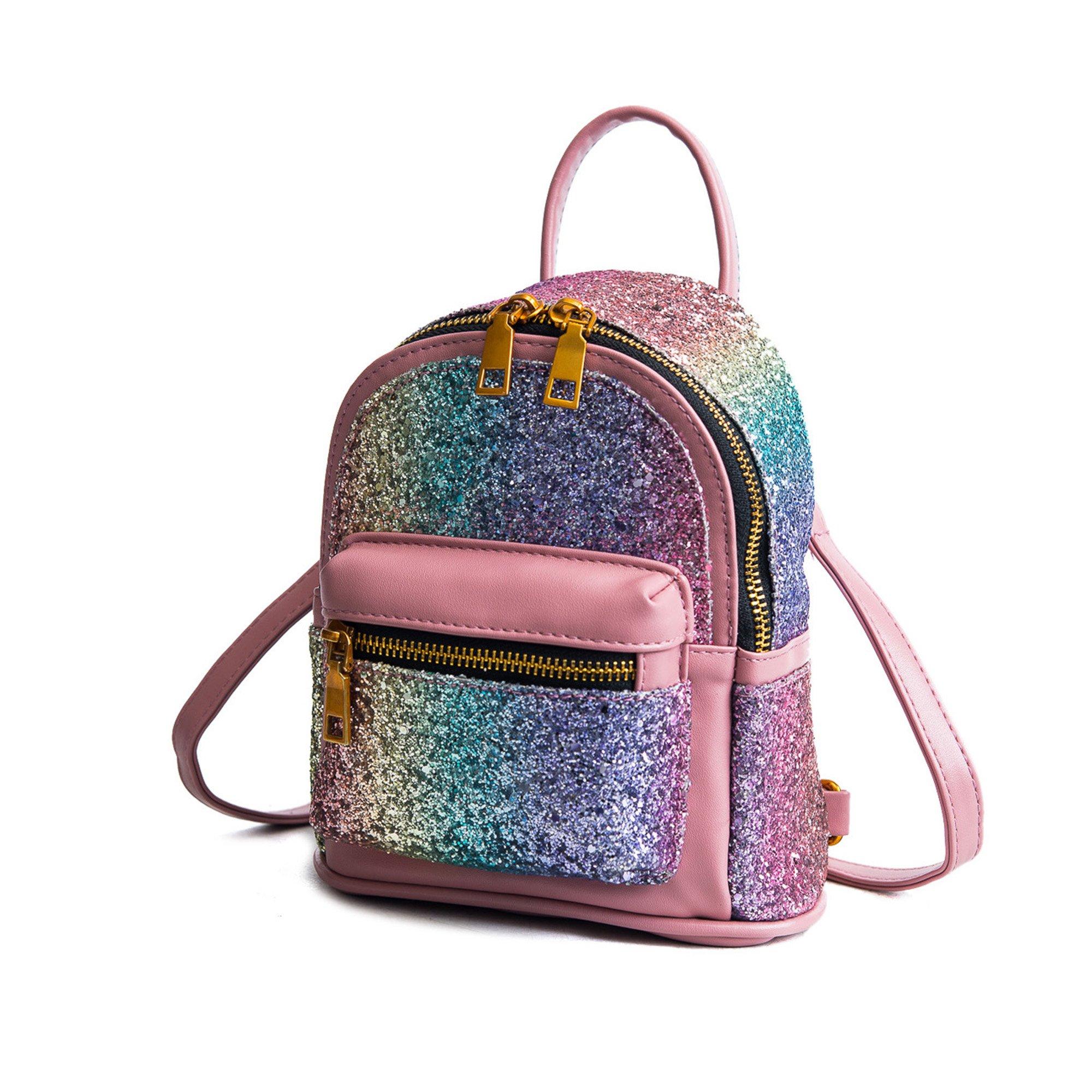 Girls Bling Mini Travel Backpack Kids Children School Bags Satchel Purses Daypack (pink rainbow) by JIANBAO (Image #2)