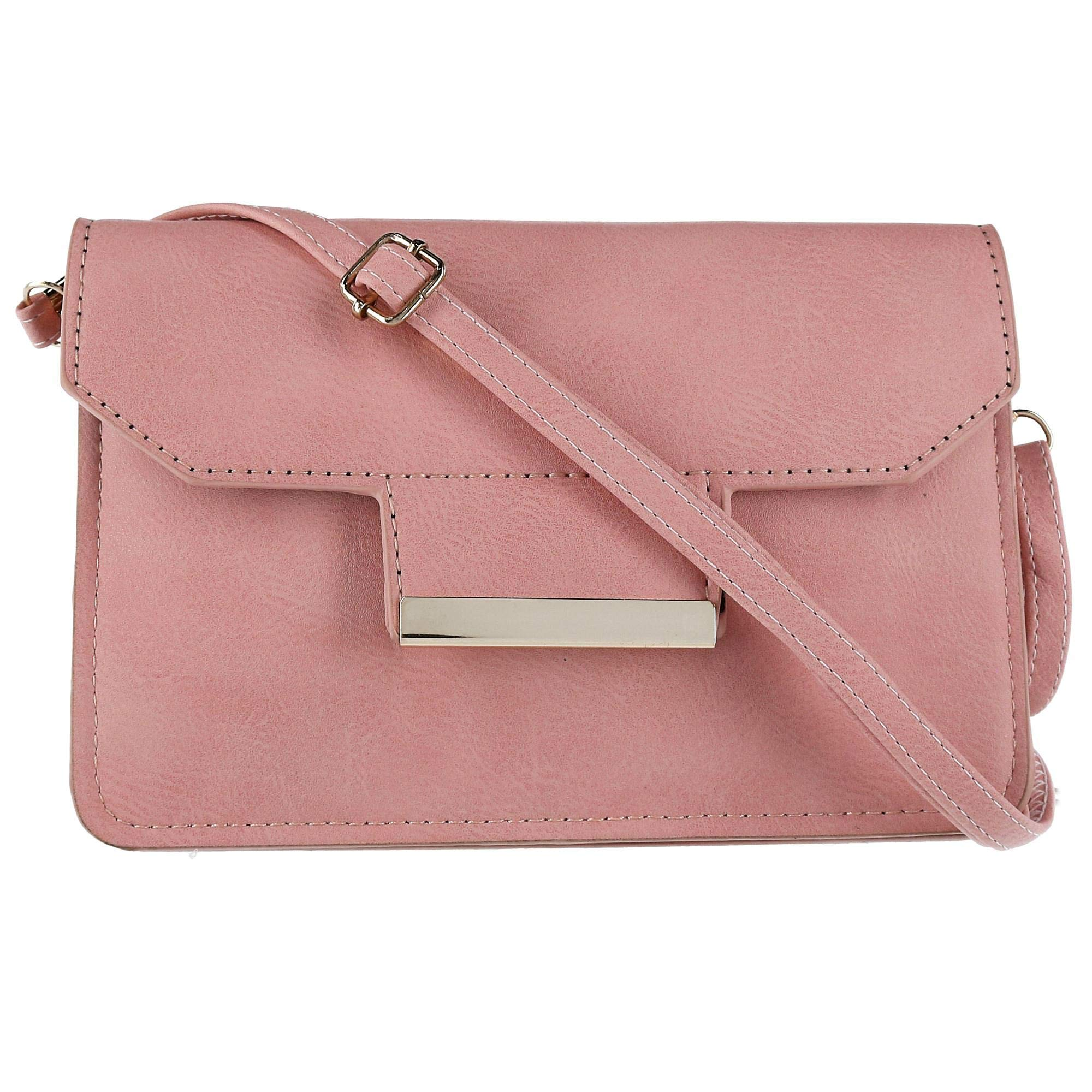 CTM Women's Clutch with Detachable Strap and Gold Trim, Rose