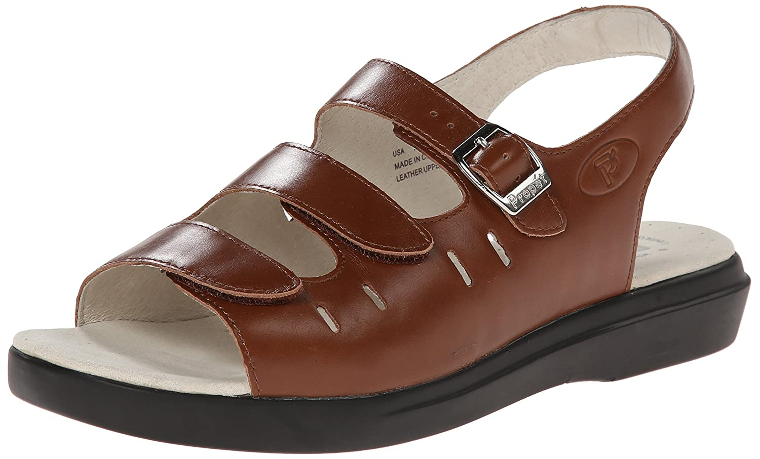Propet Women's W0001 Breeze Walker Sandal B000XJHIN0 9 W (US Women's 9 D)|Teak Brown