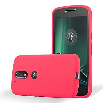 Cadorabo Funda para Motorola Moto G4 / Moto G4 Plus en Frost Rojo - Cubierta Proteccíon de Silicona TPU Delgada e Flexible con Antichoque - Gel Case ...