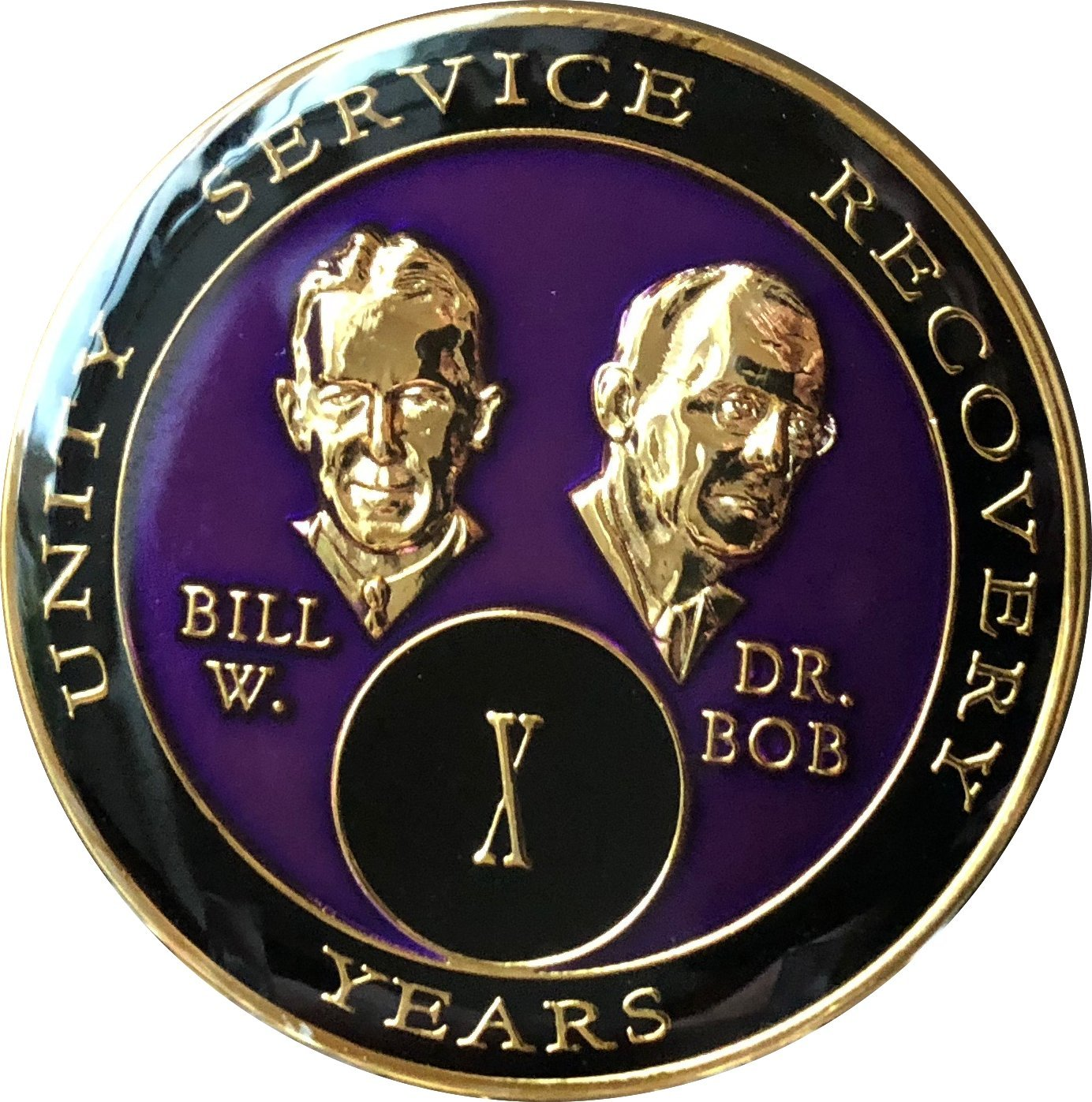 10 Year AA Medallion Purple Tri-Plate Founders Bill & Bob Chip