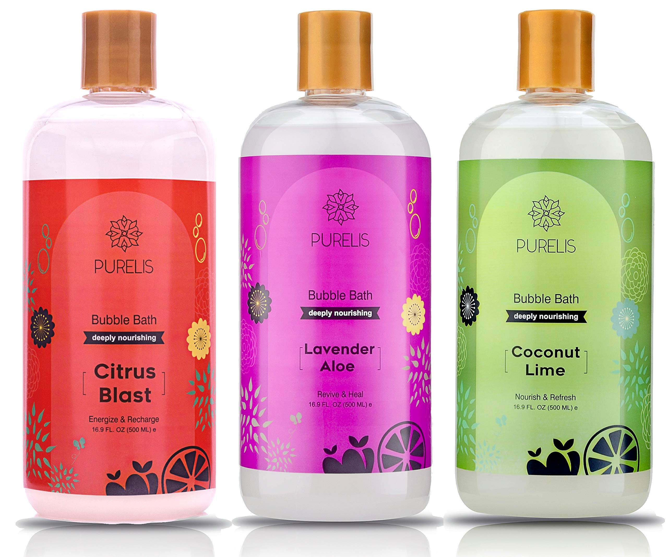 Kids Bubble Bath Tear Free 3 Pack Lavender, Citrus + Coconut & Lime - Hypoallergenic Bubble Baths for Women & Kids to Soothe & Relax. Sulfate Free Bubble Bath for sensetive skin! by Purelis