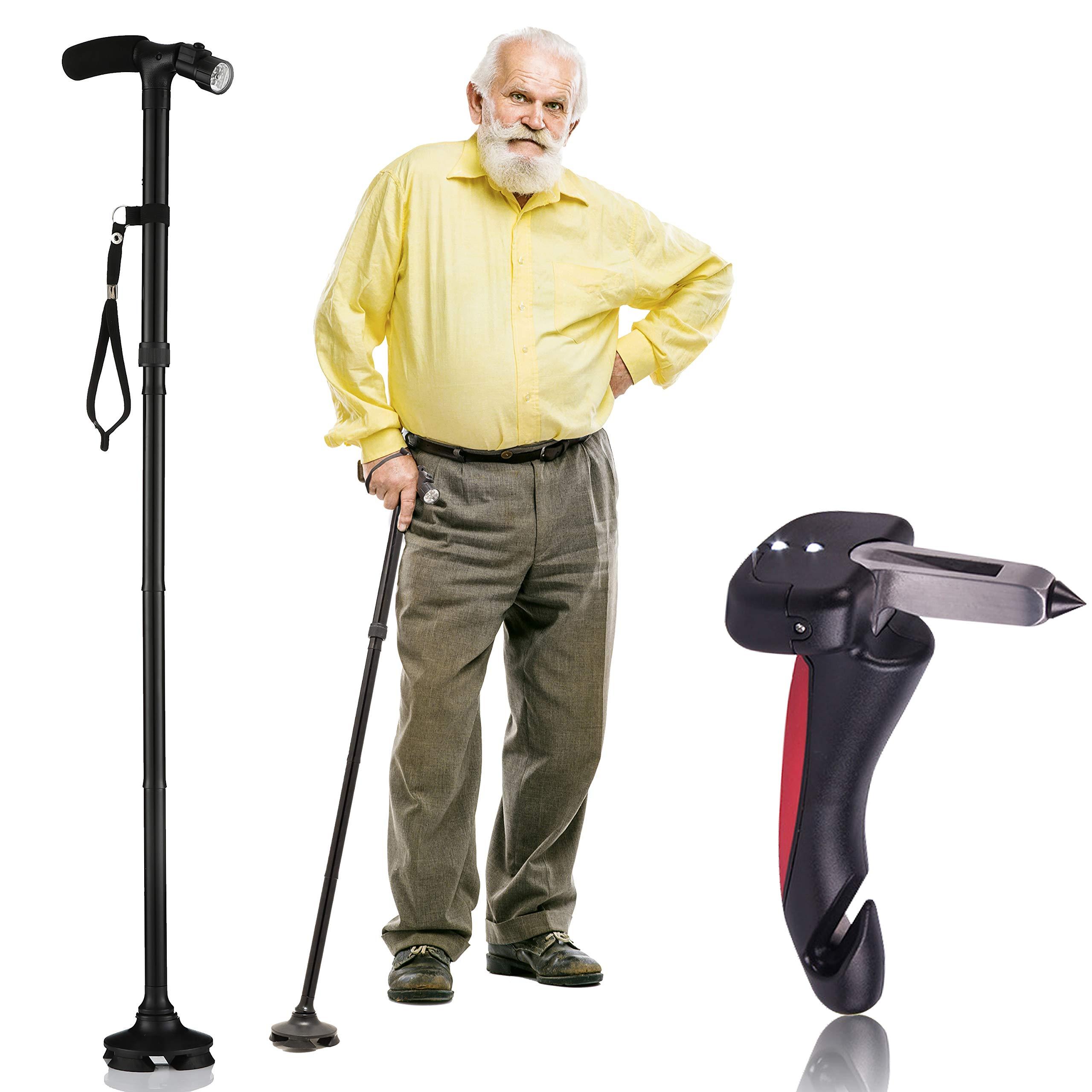 Walking Cane by Dr. Maya with Free Car Cane, Tips & LED Lights - Lightweight, Adjustable, Foldable, Pivoting Base, Quad Travel Balance Stick Support for Elderly Men and Women - Walker for Seniors!