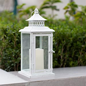 Ninganju 13.5 Inches Decorative Candle Lantern White Metal Antique Rustic Outdoor Hanging Lanterns Great for Wedding, Patio Parties, Indoor/Outdoor Decorative