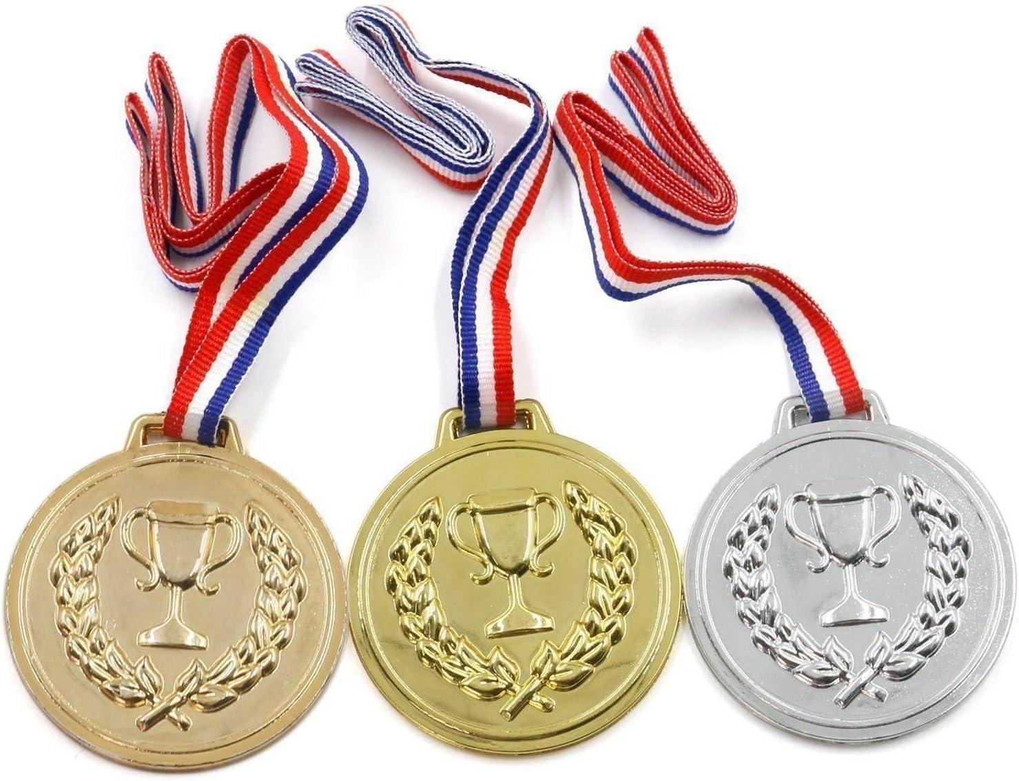 10 packs de medallas de plástico para premios en días deportivos en escuela, oro, plata, bronce, ganador: Amazon.es: Deportes y aire libre