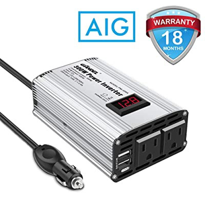 300W Power Inverter DC 12V to 110V AC Car Inverter with 4.8A Dual USB Car Adapter with LED Display: Car Electronics