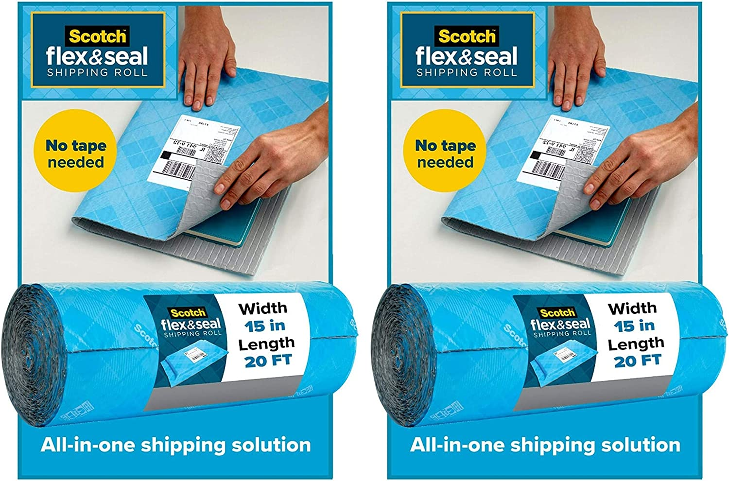 20 Ft x 15 in Scotch Flex /& Seal Shipping Roll 2 Pack