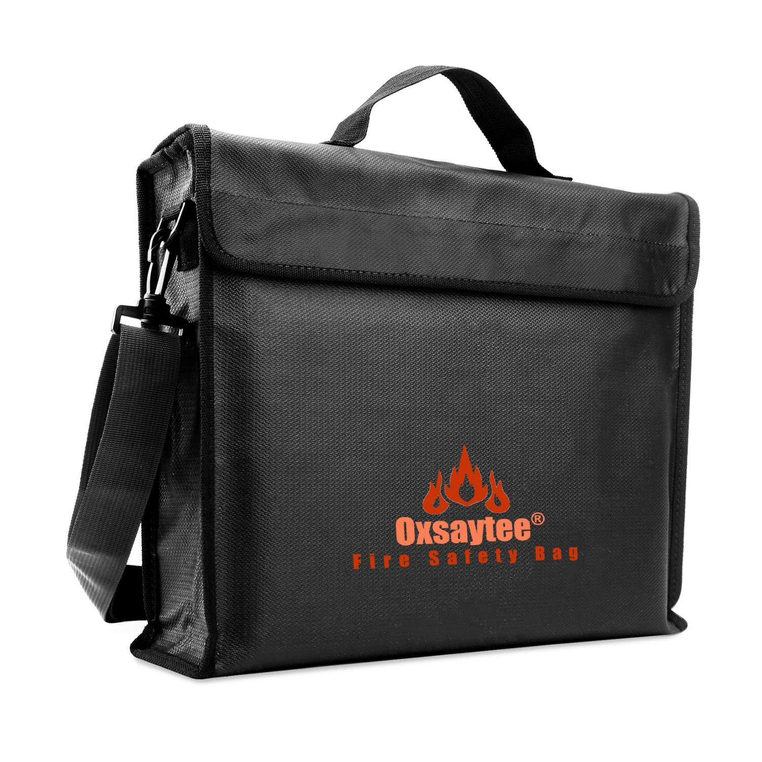 """Oxsaytee Fireproof Document Bag, Large Fire and Water Resistant Money Bag (15""""11""""3""""), Fire Safes Silicone Coated with Shoulder Strap Fire Resistant Envelope Pouch for Passport, Jewelry and Valuables"""