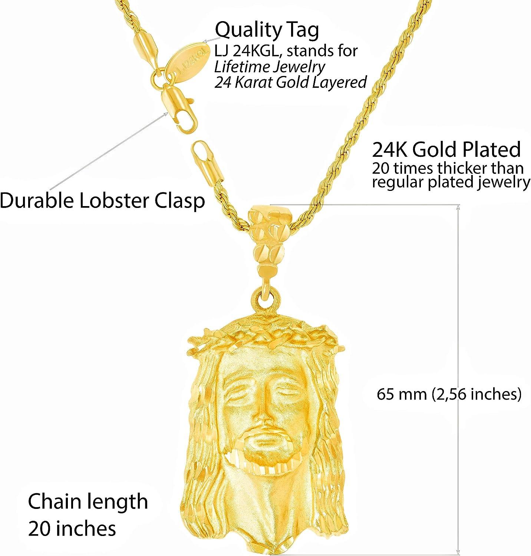 18K Gold Plated Modern Christ Pendant with 22 Gold Plated Chain Dije de cristo Moderno con Cadena de 22 de Oro Laminado de 18K