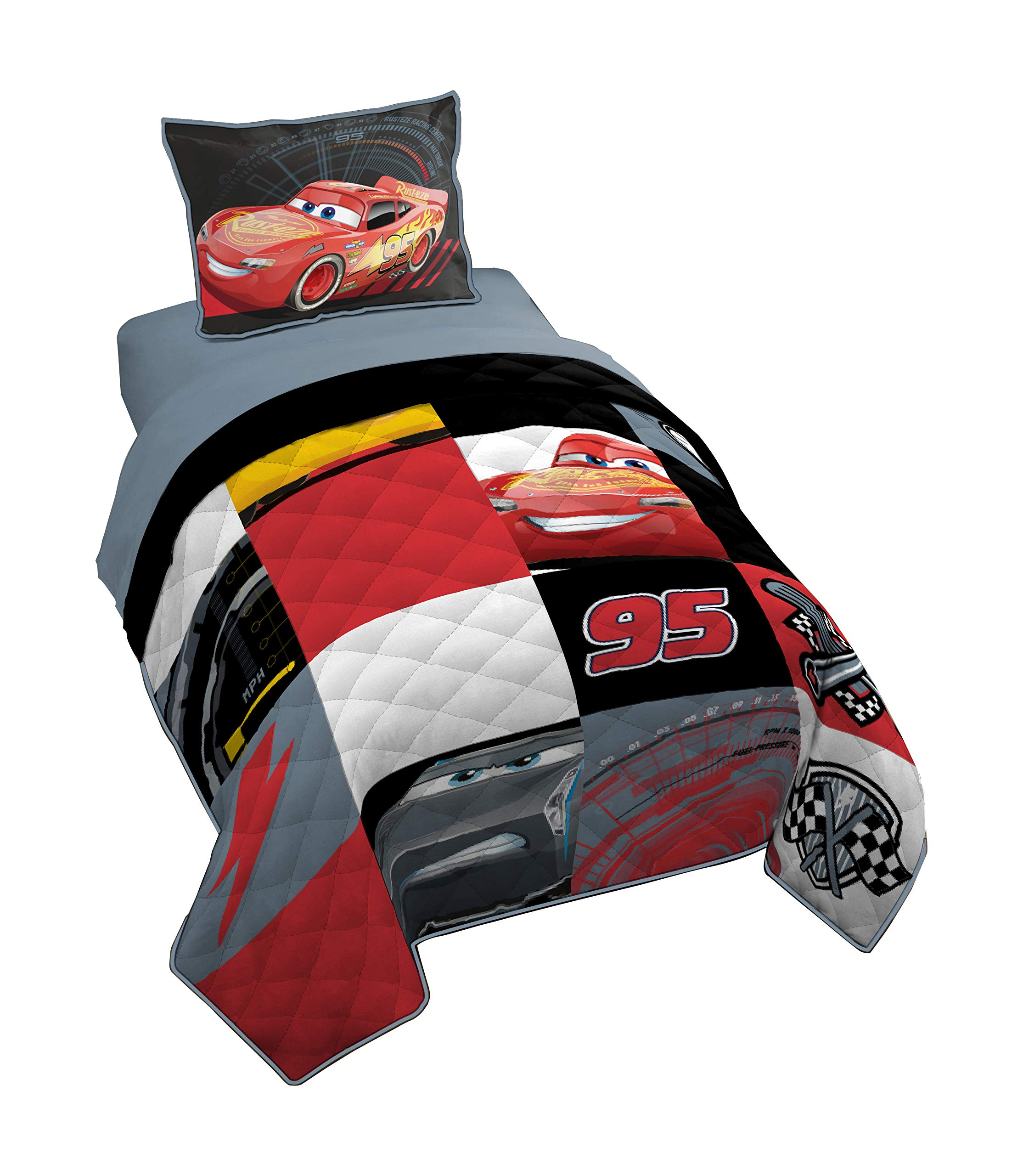 Jay Franco Pixar Cars 3 Twin/Full Quilt & Sham Set - Super Soft Kids Bedding Features Red - Fade Resistant Polyester (Official Pixar Product) by Jay Franco