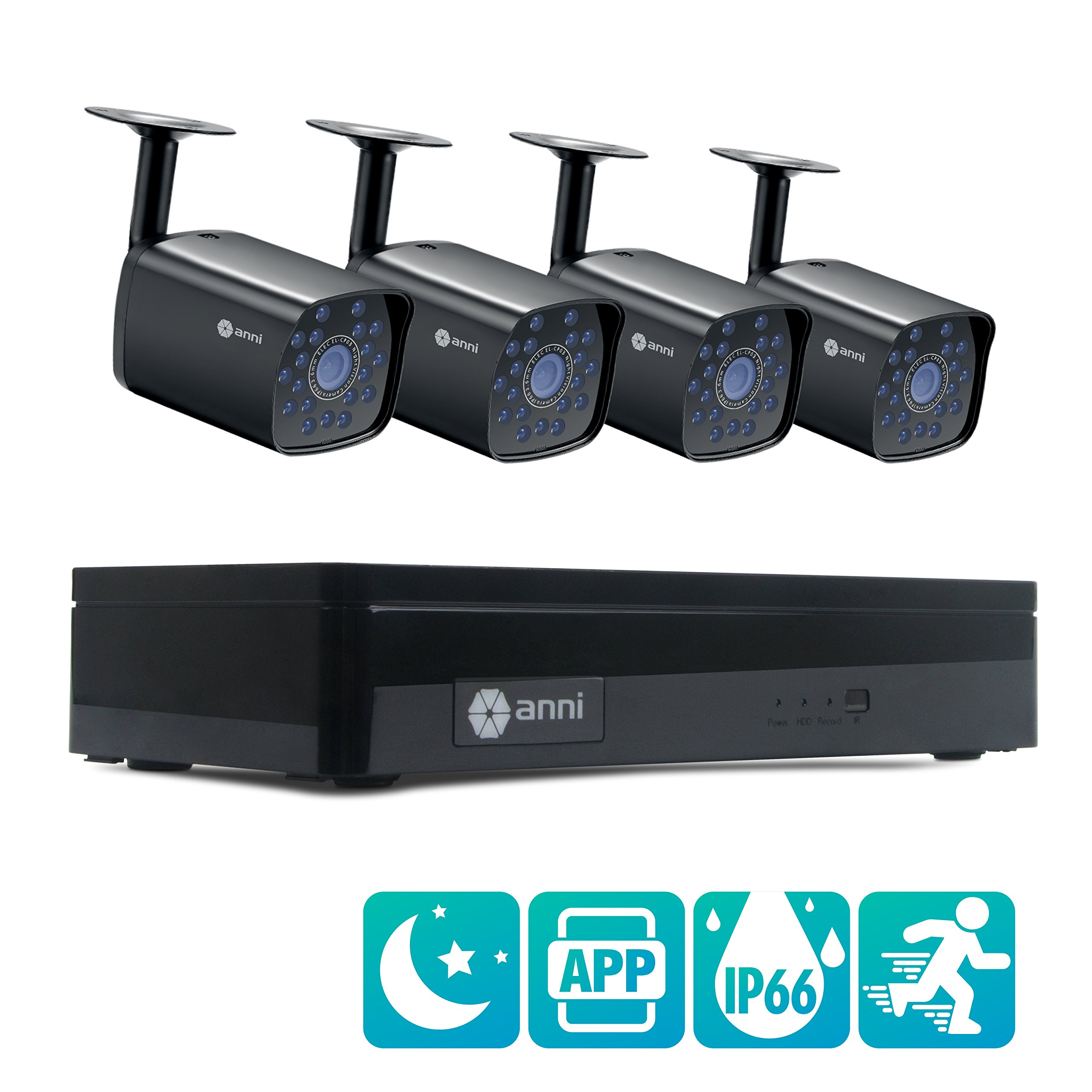 anni 4CH DVR 960H Video Security System 4PCS 1500TVL Weatherproof Outdoor Cameras Surveillance Kit, Free iOS Android APP, Motion Detection Email Alert, IR Night Vision 65ft -No Hard Drive