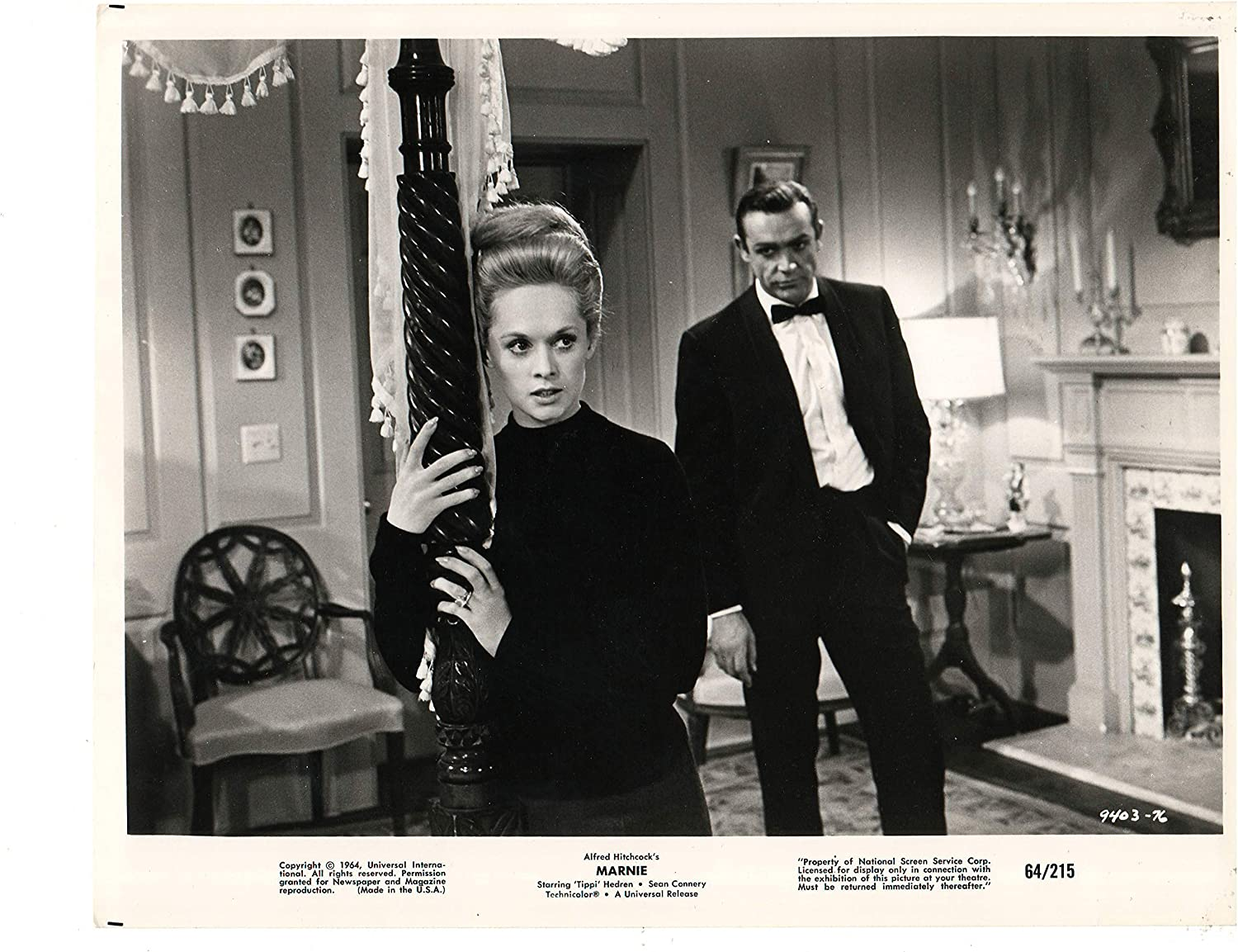 "MARNIE (1964-Alfred Hitchcock) Tippi Hedren, Sean Connery; An original  Universal studios press photograph from the now-classic Alfred Hitchcock  film. The photograph is in excellent condition. Photograph measures 8"" x  10"". V563 at"