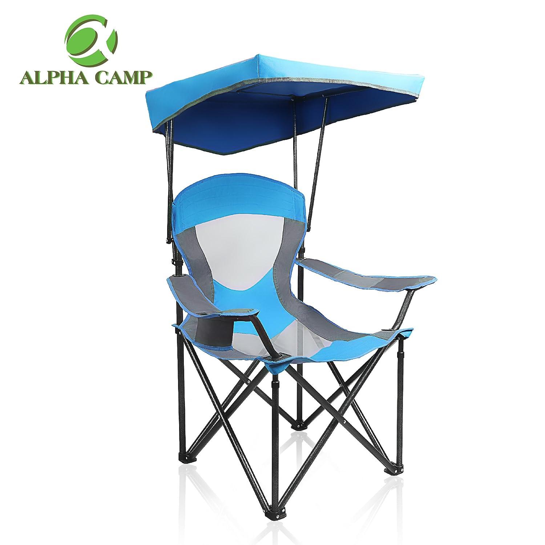 アルファCampメッシュキャノピー椅子折りたたみキャンプ椅子サポート350 lbs B07CTKPQXW  ロイヤルブルー