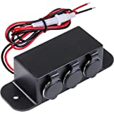 Automotive DC Power Outlet Extension [Heavy Duty] [12V-24V] [15 Amp] [In-Line Fuse] [Hardwire] Car Triple Socket Cigarette Lighter Plug Switch Box