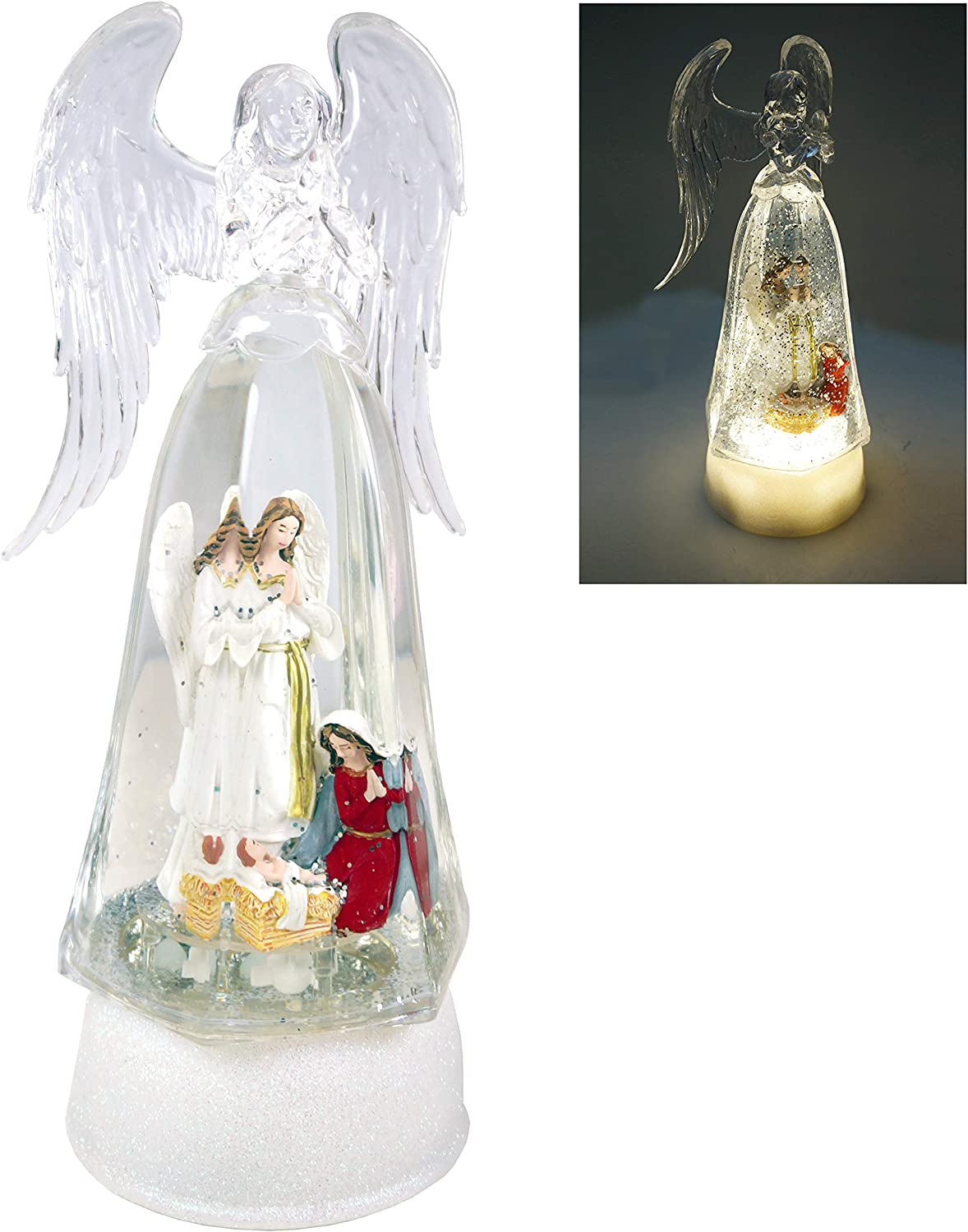 Kuda Moda Nativity Christmas Snow Globe, LED Angel Style with Angel, Baby Jesus & Mary, Battery Operated Swirling Glitter Water for Holiday Season Home Decor