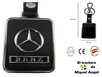 Llavero cuero y metal Mercedes: Amazon.es: Coche y moto