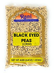 Rani Black Eyed Peas, Dried (Lobhia) 4lbs (64oz) ~ All Natural   Vegan   Gluten Friendly   Product of USA