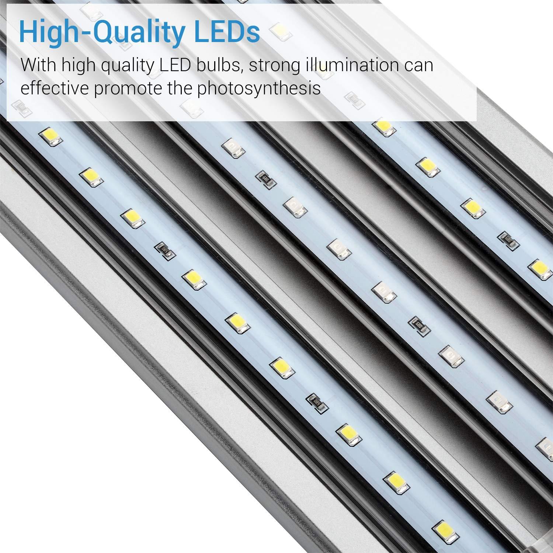 NICREW Iluminación LED para Acuario, Pantalla Luz lED de Acuario, Lámpara LED Blanco y Azul para Acuarios de Peces y Estanques Soporte Ajustable 7W 30-48 cm ...