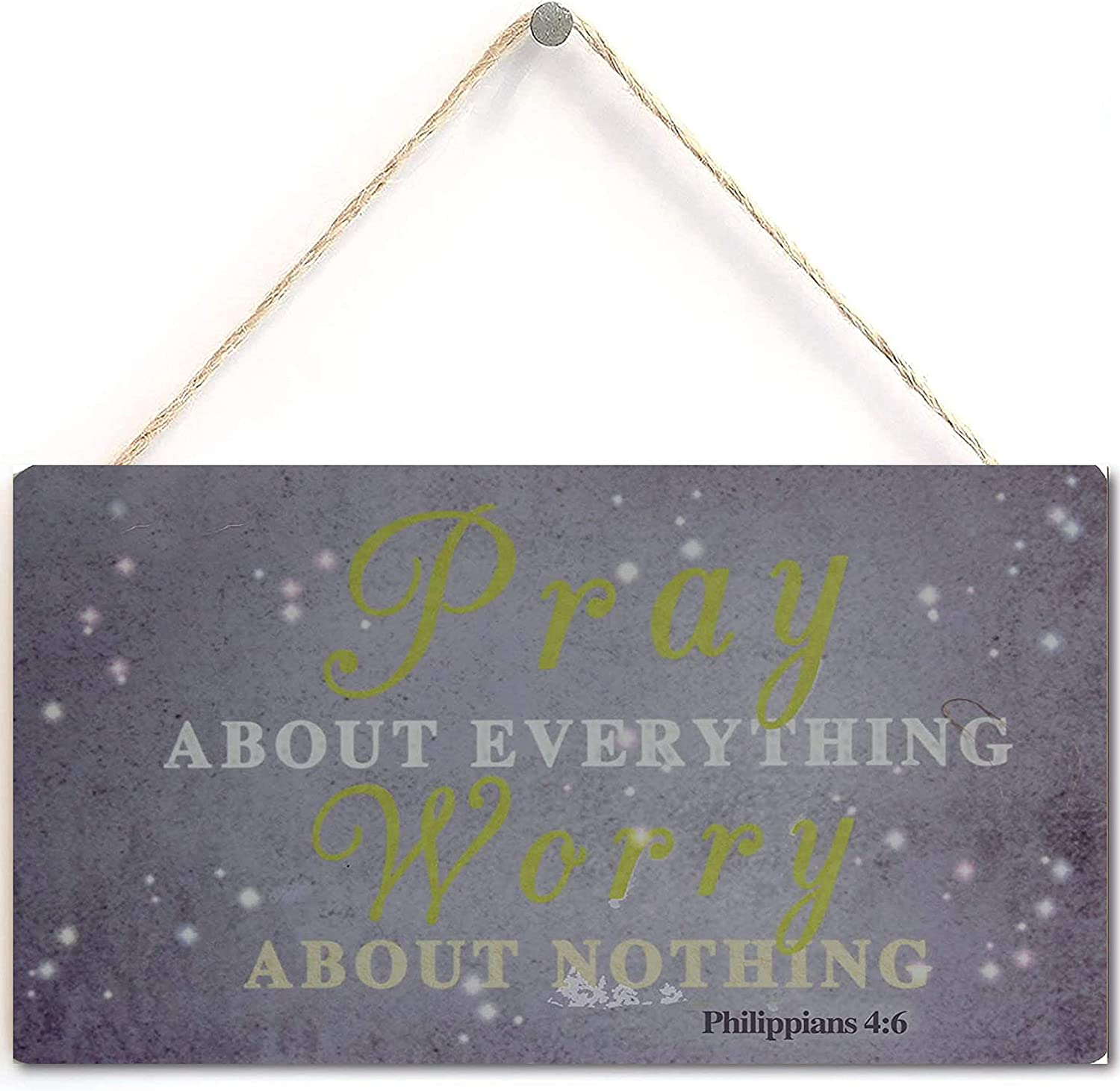 """Pray About Everything Worry About Nothing Sign with Inspiration Words Plaque Purple Color (10"""" x 5"""")"""