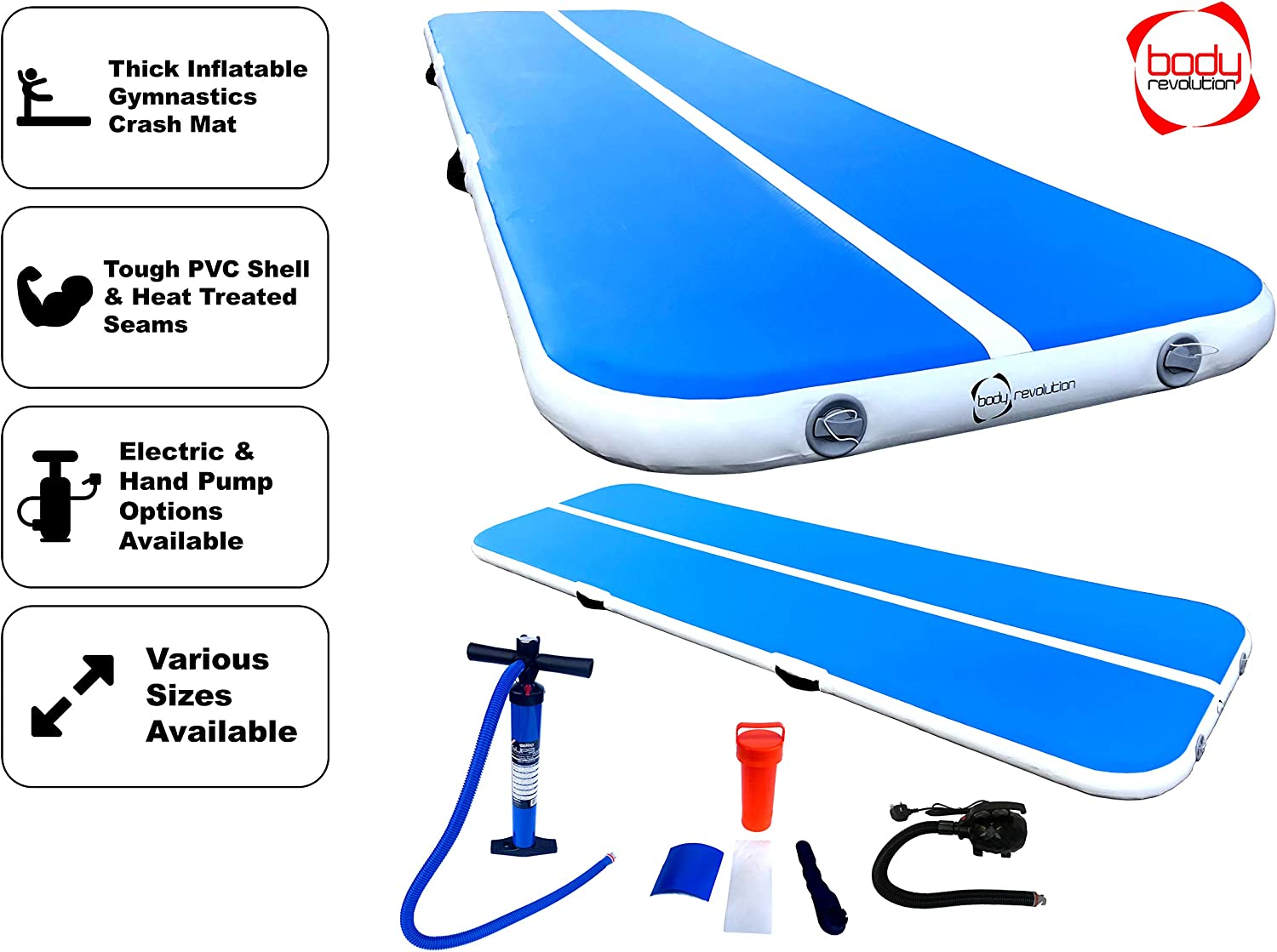 Pump Included Body Revolution Airtrack Inflatable Gymnastics Air Track and Tumble Crash Mats