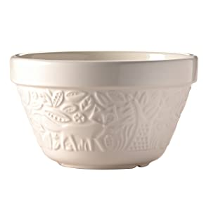 """Mason Cash In the Forest Steam Bowl, Durable Stoneware Pudding Basin with Intricate Embossed Fox Design, 30-Fluid Ounces, 6-1/4"""" Diameter, Dishwasher and Oven Safe, Cream"""