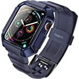MOBOSI Compatible with Apple Watch Band 44mm Series 6/5/4/SE with Case, Military Grade Rugged Protective Case with TPU Sport