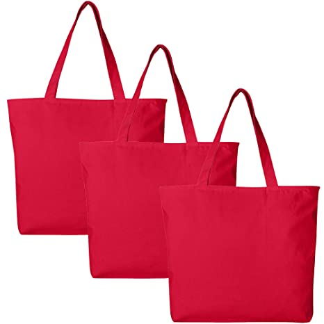 e9854e4d243c PACK OF 3 Large Heavy Canvas Plain Tote Bags, with Top and Inside Zipper  Closure by BagzDepot (Red)