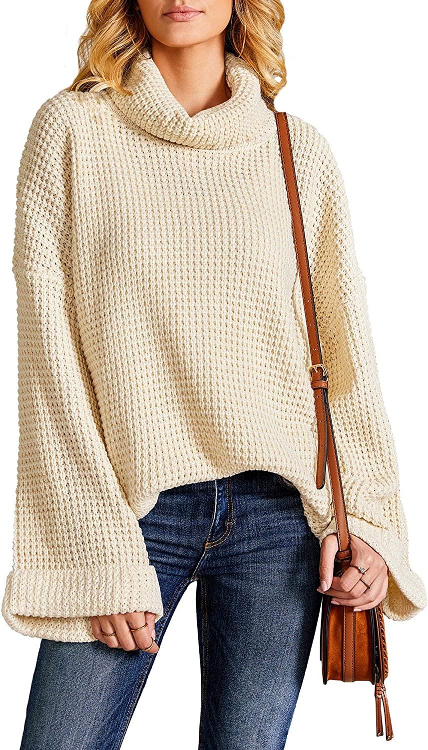 Misassy Womens Turtleneck Oversized Pullover Sweaters Casual Loose Slouchy Bell Sleeve Knitted Jumper Tops