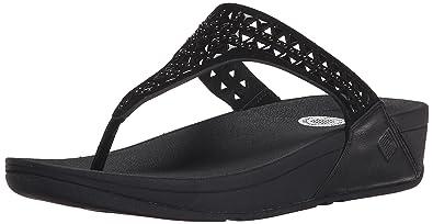 FitFlop Women's Carmel Toe-Post Suede Dress Sandal, All Black, ...