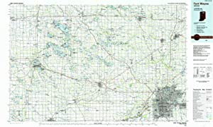 YellowMaps Fort Wayne in topo map, 1:100000 Scale, 30 X 60 Minute, Historical, 1984, Updated 1985, 24.2 x 40 in