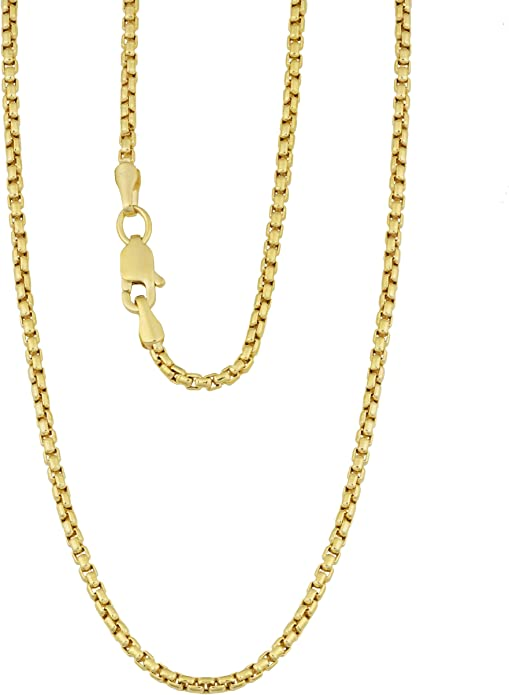 Details about  /1mm 14K White Gold Chain Round Snail Chain Necklace Gift box Ship from USA