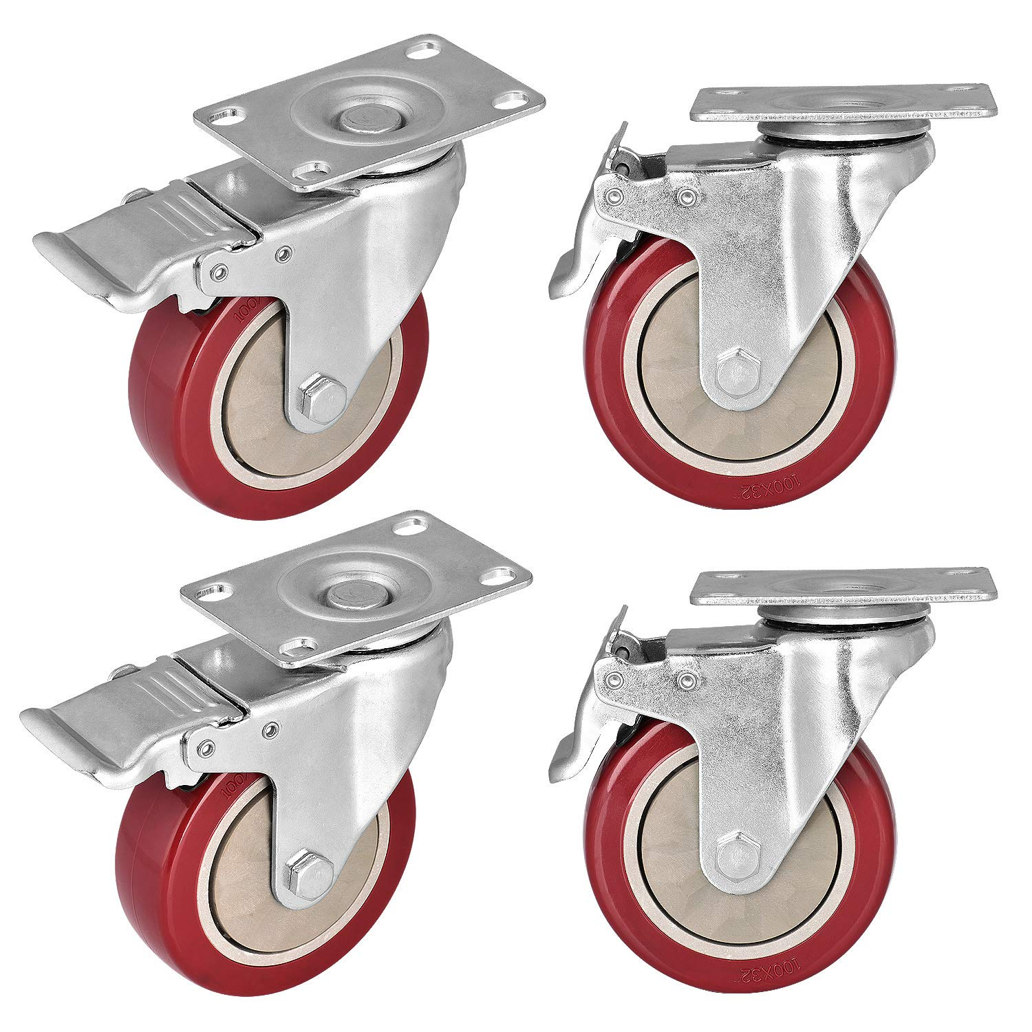 Moogiitools 4'' Swivel Rubber Caster Wheels with Safety Dual Locking Heavy Duty 1200lbs Set of 4 with Brake