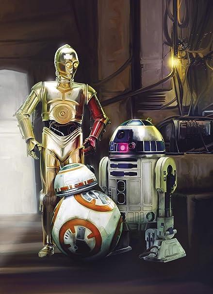 Komar Star Wars Three Droids R2 D2 C 3po Bb 8 Wallpaper Mural Vinyl Multi Colour 184x02x254 Cm
