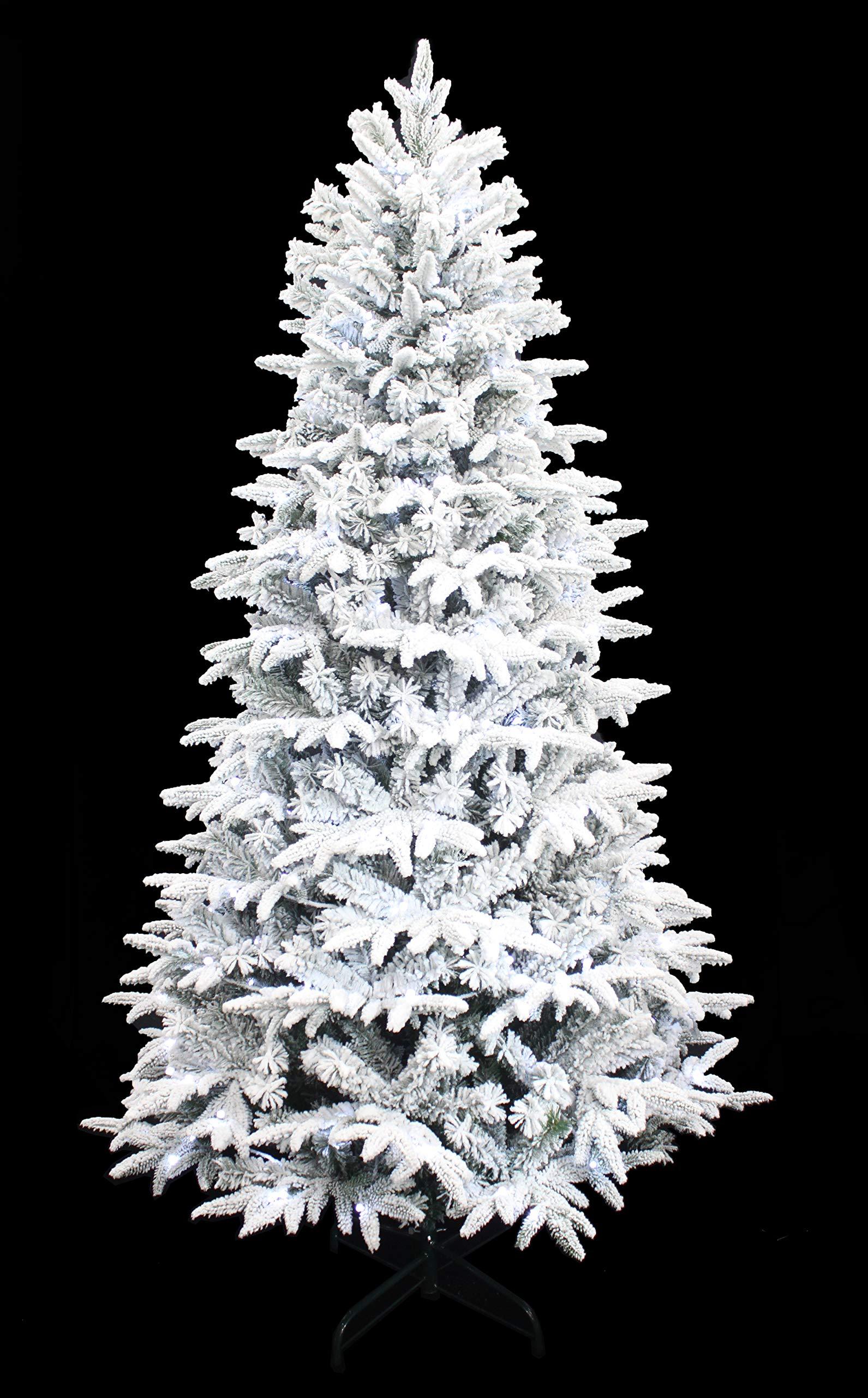 HOLIDAY STUFF Wonderland Spirit Spruce Flocked Christmas Tree pre-lit with Cool White LED Lights (7ft)