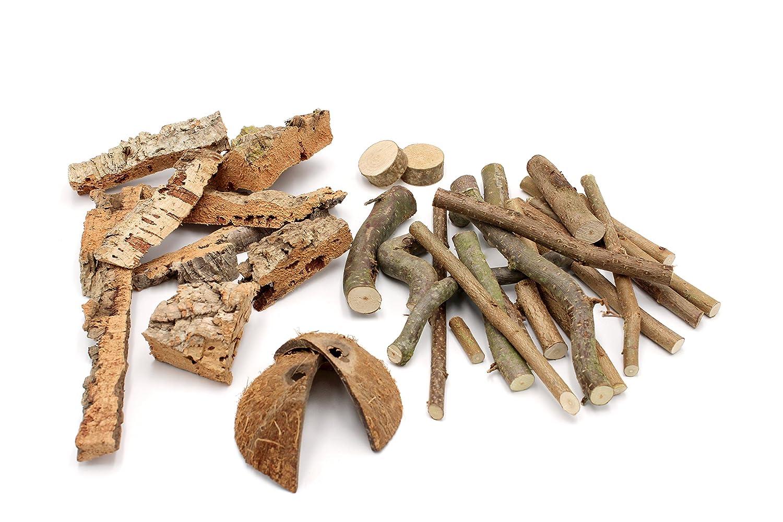 Vogelgaleria aufregender Stix de litière Mix et Expérience en Noisette Grignoteuse bois, liège, fibres de coco pour hamster, lapins, cochons d'Inde, chinchilla & Co. cochons d'Inde