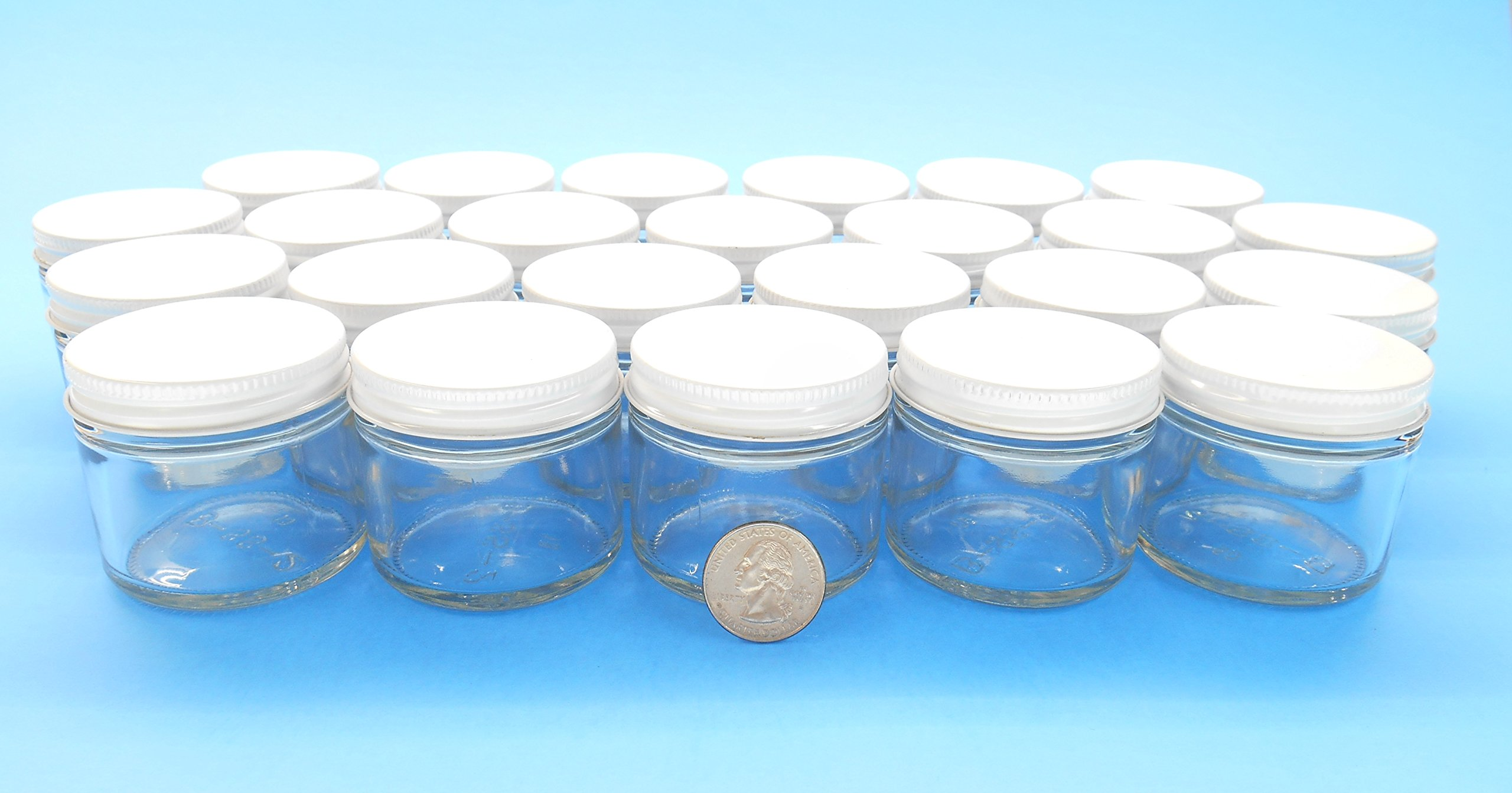 2 Oz. Straight-Sided Jars with Metal Plastisol Lids (24, White)