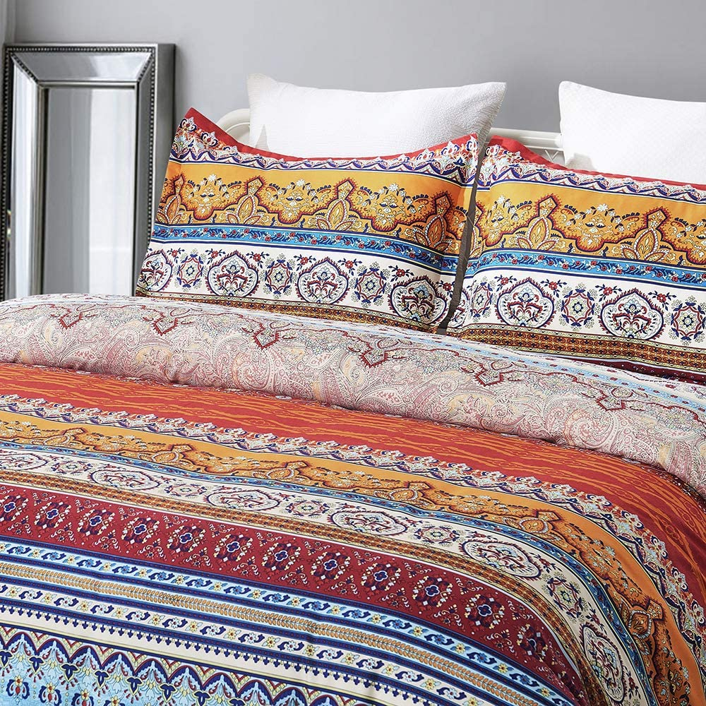 Vaulia Soft Microfiber Duvet Cover Set, Boho-Chic Print Pattern, Orange/Blue Color - Queen Size (3-Piece Set)