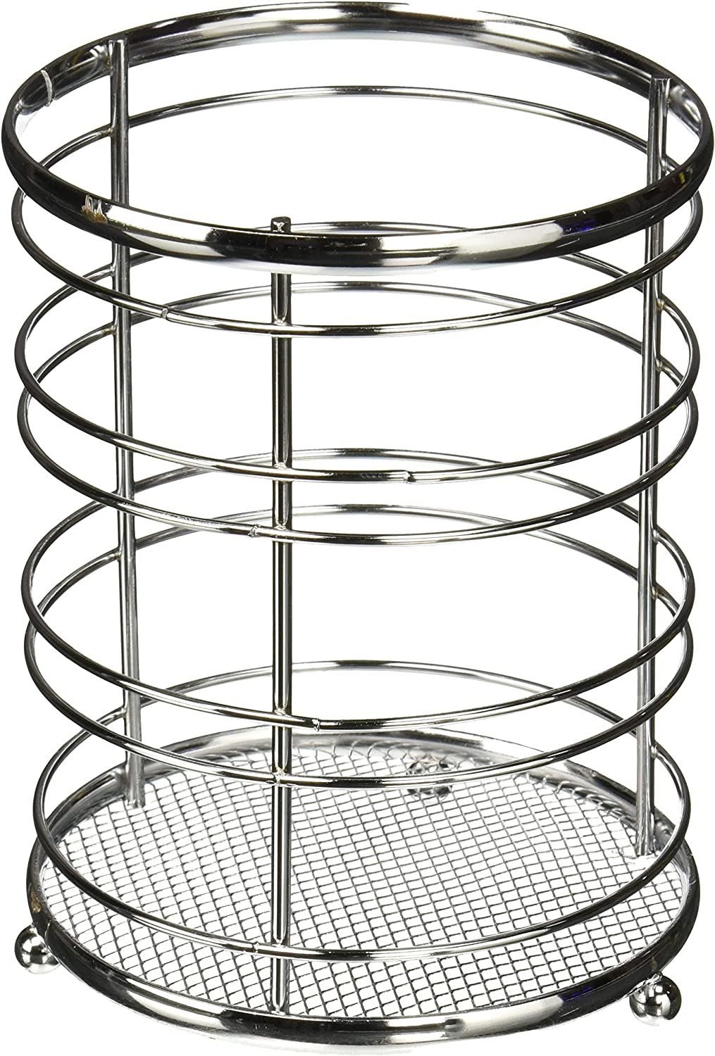 Home Basics Chrome Collection Steel Cutlery Holder Organizer, Free Standing, Kitchen Countertop, Silver