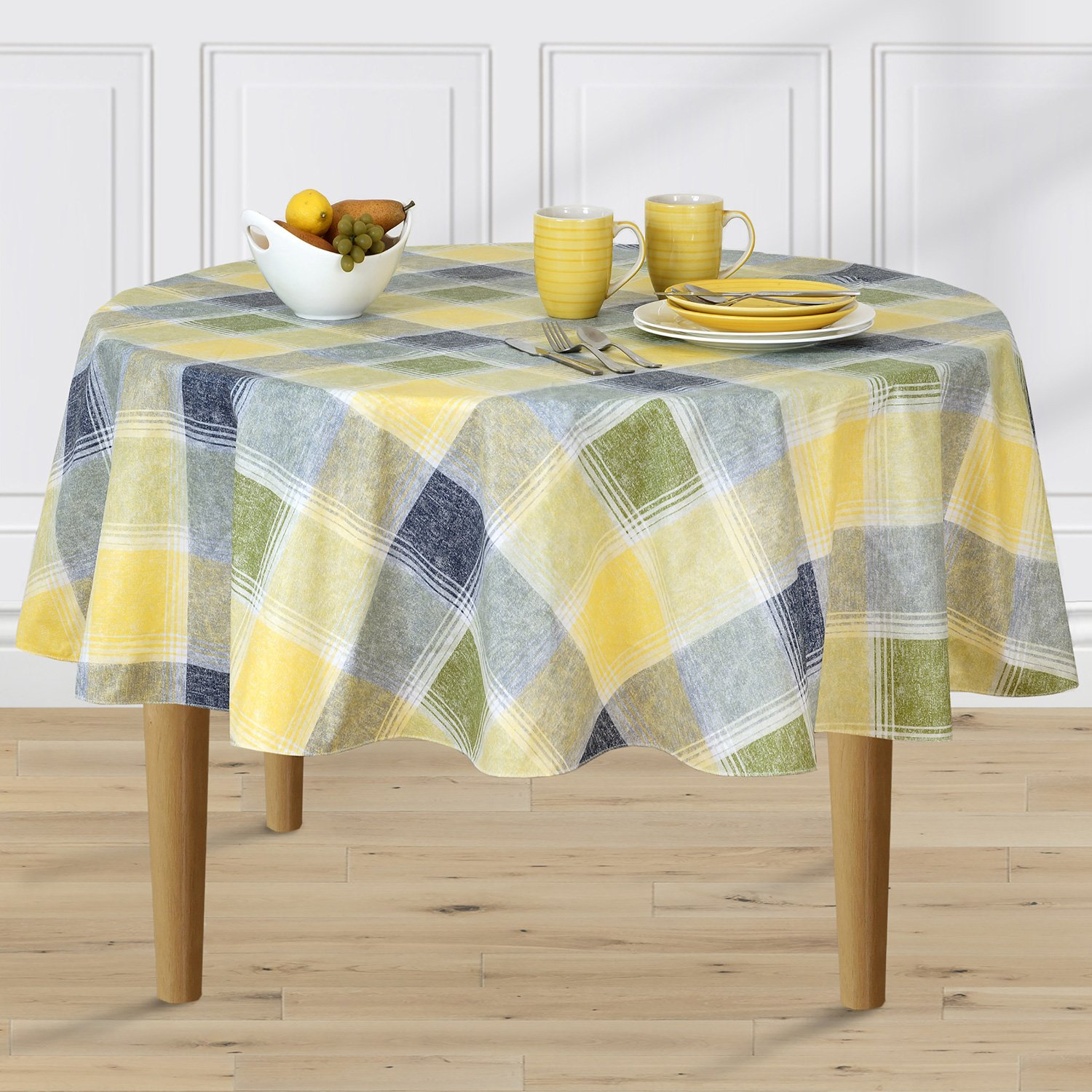 Harmony Plaid Flannel Backed Indoor Outdoor Vinyl Table Linens, 11.75-Inch by 18-Inch Placemats Set of 4, Blue Newbridge