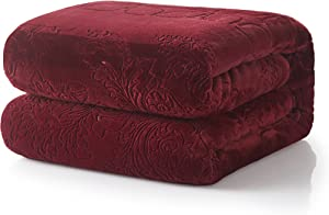 Tache Home Fashion Elegant Embossed Solid Warm Fuzzy Plush Sherpa Fleece Super Soft Throw Blanket, 63x87, Red