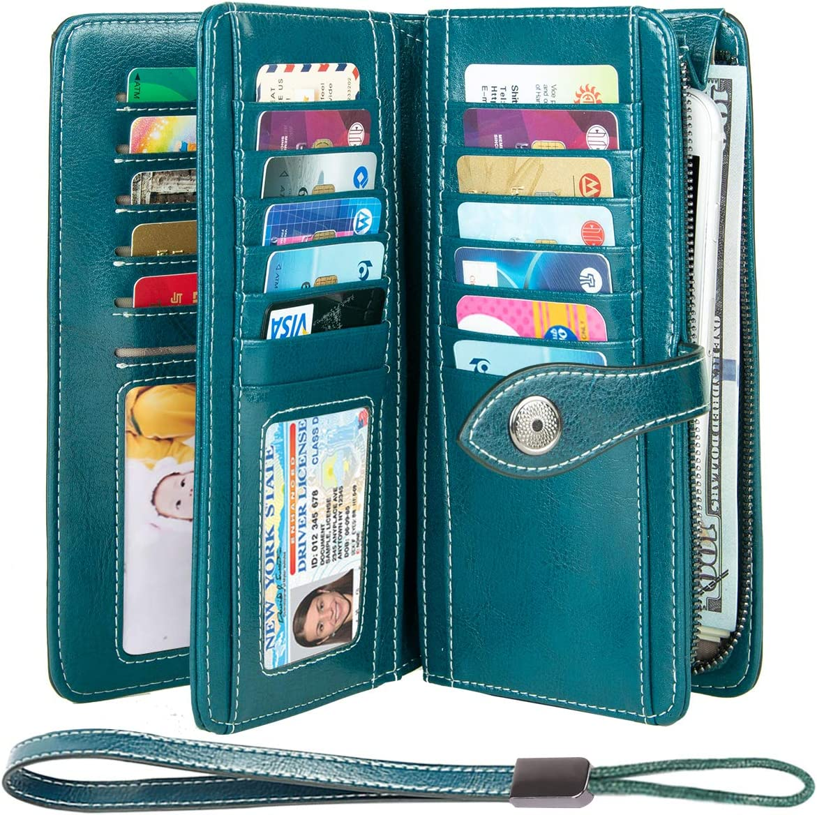 HUANLANG Large Womens Wallet Leather Vintage RFID Blocking Ladies Credit Card Clutch Wallets for Women with Wrist Strap